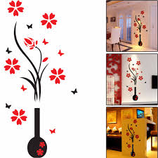red wall decals promotion shop for promotional red wall decals on acrylic 3d plum flower vase wall stickers home decor wall decal red floral wall sticker