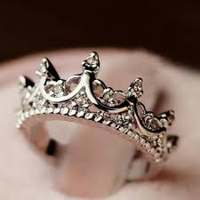 shaped rings images Wholesale sweet diamante crown shaped ring for women in silver one jpg