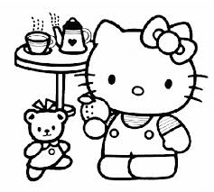 hello kitty tea party coloring pages free coloring pages