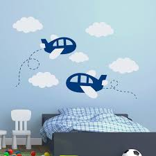 Wall Decals For Nursery Boy Diy Room Airplane Wall Decals Plane Clouds Decal Vinyl