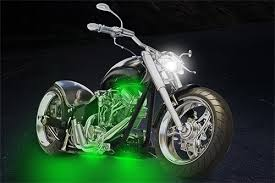 green motorcycle led light kit illumimoto