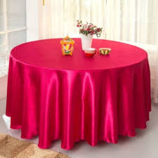 themed table cloth 120inch big size fuchsia satin table cloth wedding
