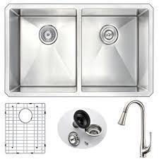 kitchen sink faucet set anzzi vanguard undermount stainless steel 32 in double bowl kitchen