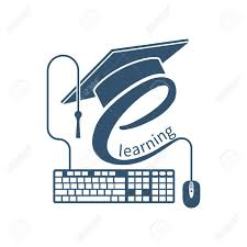 design online education e learning concept logo learning online center and graduation
