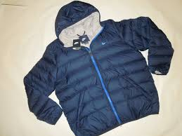 nike men s hooded down winter jacket 2xl xxl navy blue with