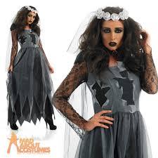 Dead Bride Costume Black Corpse Bride Costume Ladies Zombie Halloween Fancy Dress Uk
