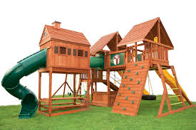 furniture wooden playsets with tube slider and wall climber for