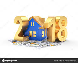 new year dollar bill golden 2018 new year with blue house and dollar bills stock