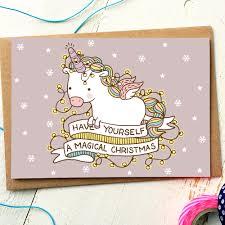 funny christmas card unicorn card funny holiday card