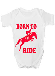 born to ride horse riding funny babygrow babies gift boy