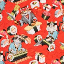 henry fabric colorful cat sushi food rockin rolls