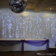 White Curtains With Pom Poms Decorating Cheap Wedding Backdrop Led Curtain Light White Wedding Stage