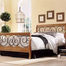 bedroom design oak wood and wrought iron headboard for elegant