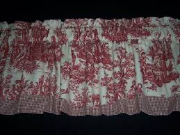 French Country Curtains Waverly by Red On Cream Waverly Country Life Toile Scalloped Check Trim