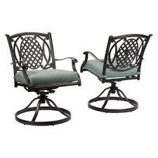 hampton bay belcourt swivel rocking metal outdoor dining chair