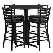 high table and bar stools flash furniture round bar height table set with 4 metal bar stools