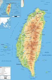 Ocean Lakes Map Physical Map Of Taiwan Ezilon Maps