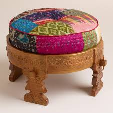 How Do You Spell Ottoman Moroccan Boho Wooden Stool With Silk Pouf Pillow Ottoman