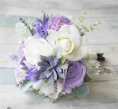 succulent bouquet lilac lavender succulent and roses real touch flowers
