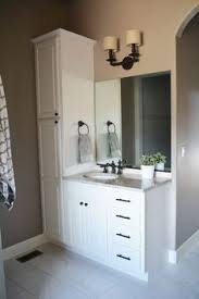 Bathroom Vanities With Linen Towers   Shown - Incredible bathroom linen cabinets white home