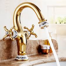 antique copper kitchen sink faucet gold plated brass bathroom