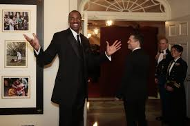 former nba player jason collins gets advice from a president