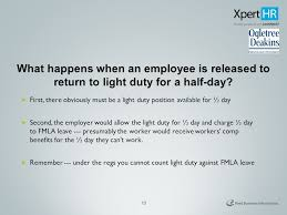 what is light duty work how fmla ada and workers compensation laws work together presented