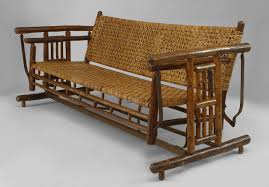 Old Rocking Chair On Porch Large 1930s American Old Hickory Co Settee Porch Glider For Sale