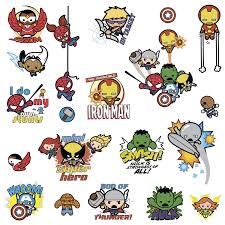 superhero kawaii art wall decals marvel superhero kawaii art wall decals