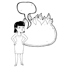 speech bubble hand drawn freehand drawn speech bubble cartoon woman in dress with hands on