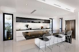 White Kitchen With Black Island Galley White Kitchen With Black Benchtops Google Search