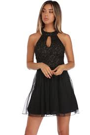 paige black metallic lace party dress