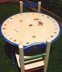 Kids Wood Table And Chair Set Alphabet Table And Chair Set Hand Painted Children U0027s Table