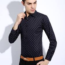 new fashion shirt men slim fit dot print long sleeve shirts men