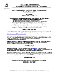 high school applications online undergrad info for high school theatre festival participants setc