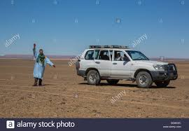 range rover blue and white berber guide waving at camera beside a white range rover in