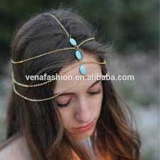 three layers bridal indian chain hair chain view