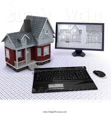 avenue clipart a 3d computer with house blueprints designs by a