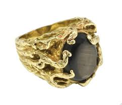 mens gold ring a men s 14 karat gold ring with black sapphire given to al