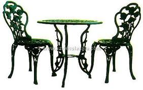 Cast Iron Bistro Table Blue Painted Wrought Iron Garden Furniture Patio Stock Photo