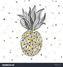 Pineapple Home Decor Stylized Pineapple Artwork Fruit Print Home Stock Vector 562433479