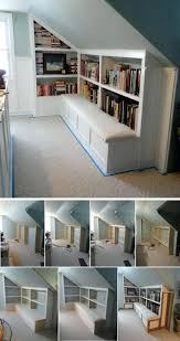 attic kitchen ideas storage space ideas attic bench with book storage space storage