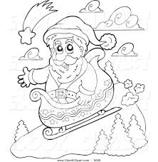 vector clip art of a lineart santa sledding by visekart 9096