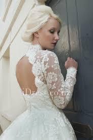 full lace ivory tea length illusion neck long sleeve vintage
