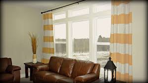 Window Curtains Design Ideas Interior Chic Fabric Yellow White Striped Window Curtain Design