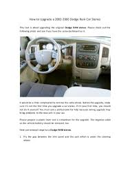 2005 Dodge Ram Navigation Radio How To Upgrade A 2002 2006 Dodge Ram Car Stereo