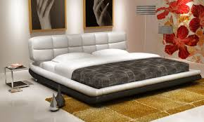 Modern White And Black Bedroom D512 Modern White And Black Bonded Leather Bed