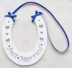 handmade horseshoes just married wedding handmade wood horseshoe hanging with navy
