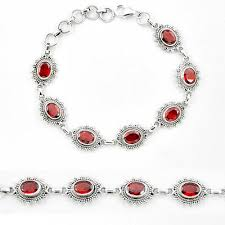 silver bracelet jewelry images Natural red garnet 925 sterling silver tennis bracelet jewelry JPG