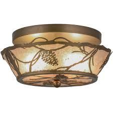 62976 meyda tiffany lighting 62976 2 light pinecone wide flush